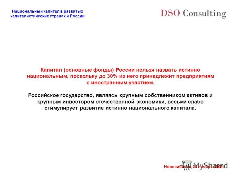 Национальный капитал в развитых капиталистических странах и России Новосибирск, 24 ноября 2009 г. Капитал (основные фонды) России нельзя назвать истинно национальным, поскольку до 30% из него принадлежит предприятиям с иностранным участием. Российско