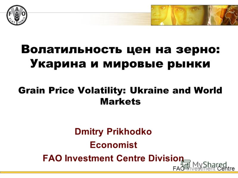 FAO Investment Centre Волатильность цен на зерно: Укарина и мировые рынки Grain Price Volatility: Ukraine and World Markets Dmitry Prikhodko Economist FAO Investment Centre Division