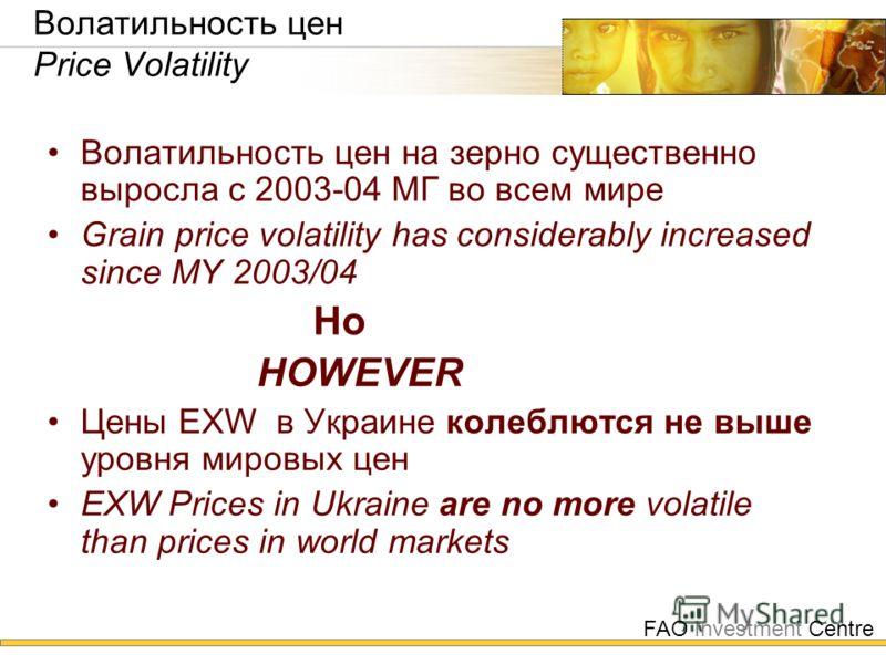 FAO Investment Centre Волатильность цен Price Volatility Волатильность цен на зерно существенно выросла с 2003-04 МГ во всем мире Grain price volatility has considerably increased since MY 2003/04 Но HOWEVER Цены EXW в Украине колеблются не выше уров