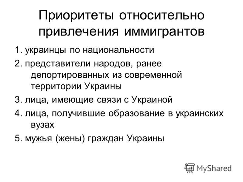 Приоритеты относительно привлечения иммигрантов 1. украинцы по национальности 2. представители народов, ранее депортированных из современной территории Украины 3. лица, имеющие связи с Украиной 4. лица, получившие образование в украинских вузах 5. му