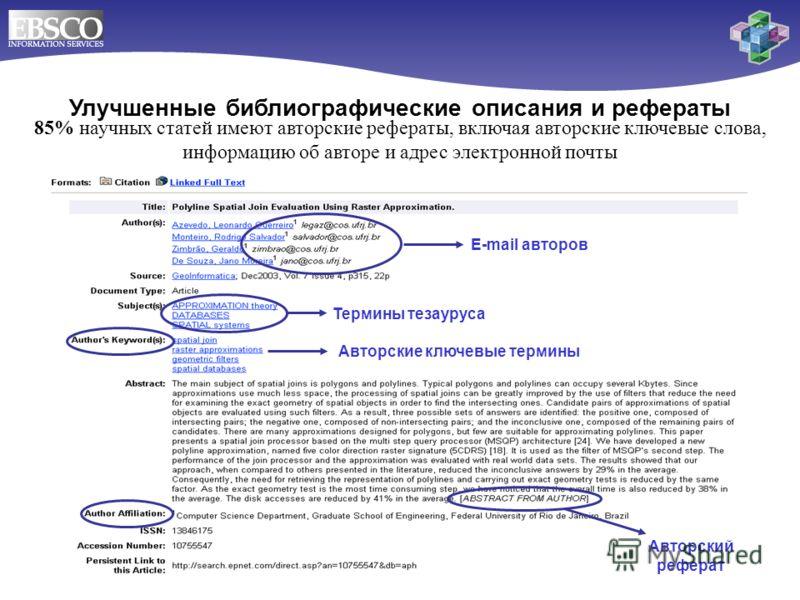 Улучшенные библиографические описания и рефераты 85% научных статей имеют авторские рефераты, включая авторские ключевые слова, информацию об авторе и адрес электронной почты Термины тезауруса E-mail авторов Авторский реферат Авторские ключевые терми