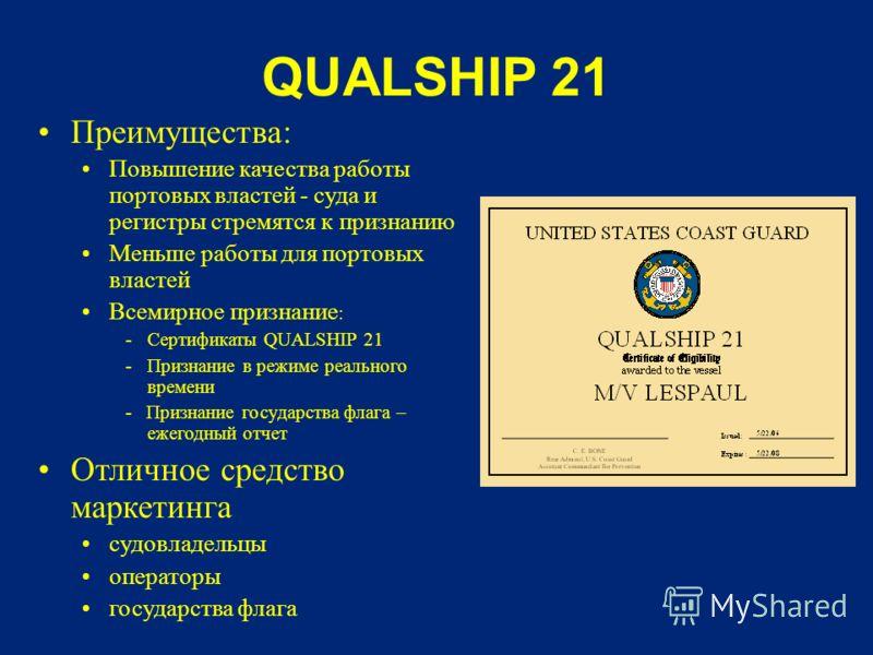 QUALSHIP 21 Преимущества: Повышение качества работы портовых властей - суда и регистры стремятся к признанию Меньше работы для портовых властей Всемирное признание : -Сертификаты QUALSHIP 21 -Признание в режиме реального времени - Признание государст