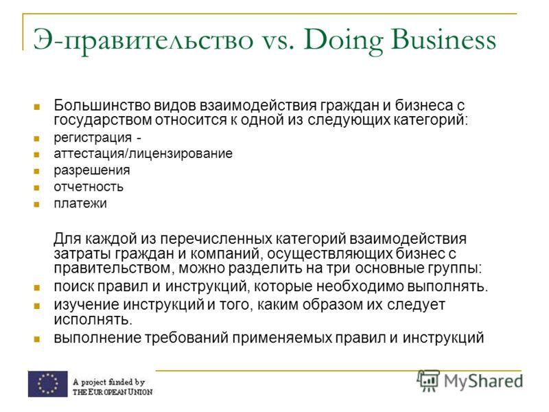 Э-правительство vs. Doing Business Большинство видов взаимодействия граждан и бизнеса с государством относится к одной из следующих категорий: регистрация - аттестация/лицензирование разрешения отчетность платежи Для каждой из перечисленных категорий