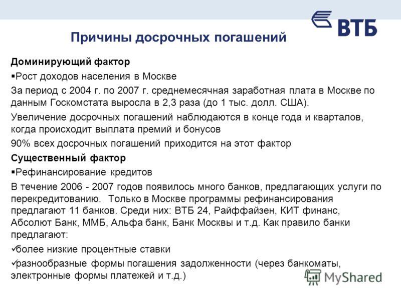 Причины досрочных погашений Доминирующий фактор Рост доходов населения в Москве За период с 2004 г. по 2007 г. среднемесячная заработная плата в Москве по данным Госкомстата выросла в 2,3 раза (до 1 тыс. долл. США). Увеличение досрочных погашений наб