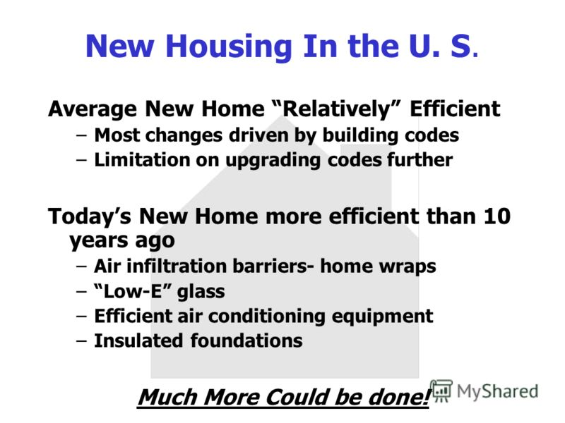 New Housing In the U. S. Average New Home Relatively Efficient –Most changes driven by building codes –Limitation on upgrading codes further Todays New Home more efficient than 10 years ago –Air infiltration barriers- home wraps –Low-E glass –Efficie