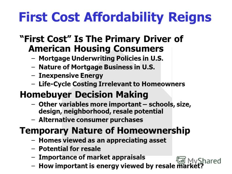 First Cost Affordability Reigns First Cost Is The Primary Driver of American Housing Consumers –Mortgage Underwriting Policies in U.S. –Nature of Mortgage Business in U.S. –Inexpensive Energy –Life-Cycle Costing Irrelevant to Homeowners Homebuyer Dec