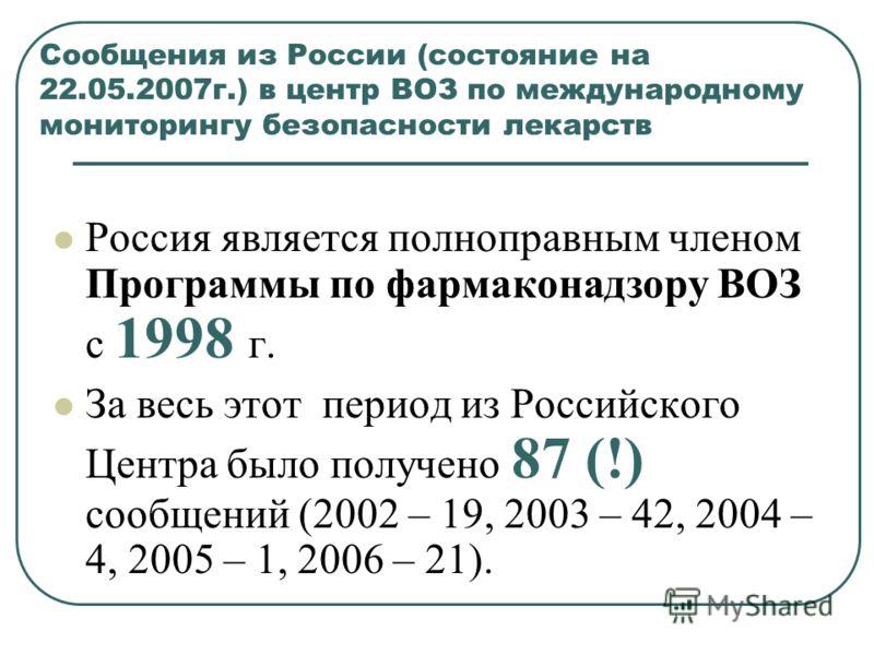 Сообщения из России (состояние на 22.05.2007г.) в центр ВОЗ по международному мониторингу безопасности лекарств Россия является полноправным членом Программы по фармаконадзору ВОЗ с 1998 г. За весь этот период из Российского Центра было получено 87 (