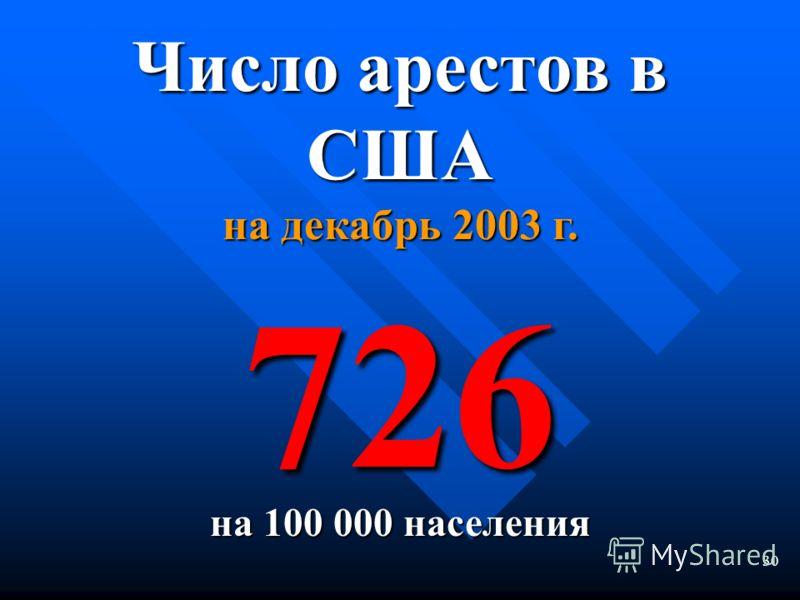 29 Число арестов в странах Западной Европы Равно или менее 100 на 100 000 населения