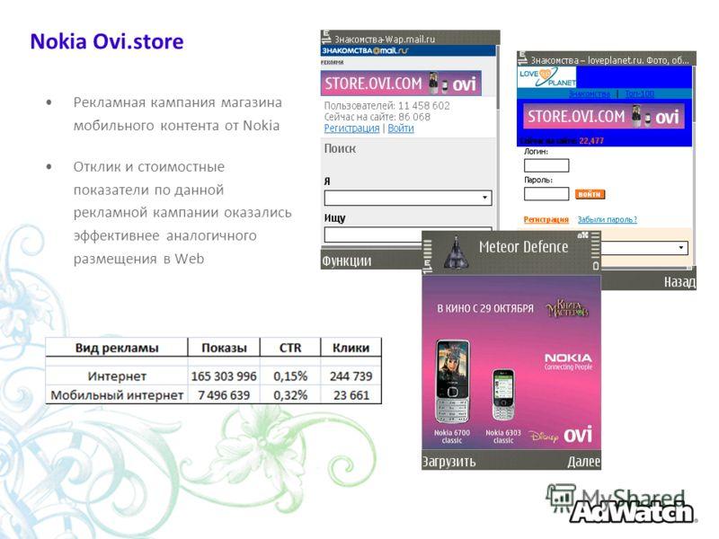 Nokia Ovi.store Рекламная кампания магазина мобильного контента от Nokia Отклик и стоимостные показатели по данной рекламной кампании оказались эффективнее аналогичного размещения в Web