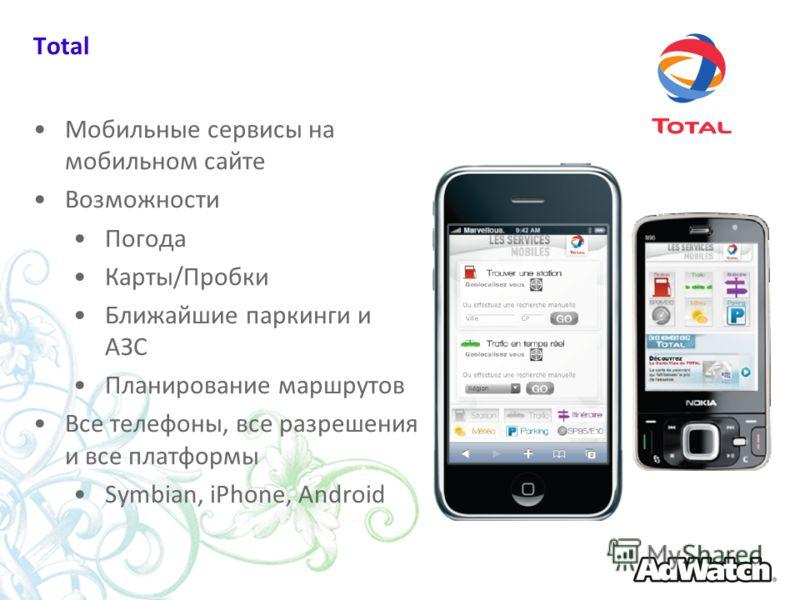 Total Мобильные сервисы на мобильном сайте Возможности Погода Карты/Пробки Ближайшие паркинги и АЗС Планирование маршрутов Все телефоны, все разрешения и все платформы Symbian, iPhone, Android