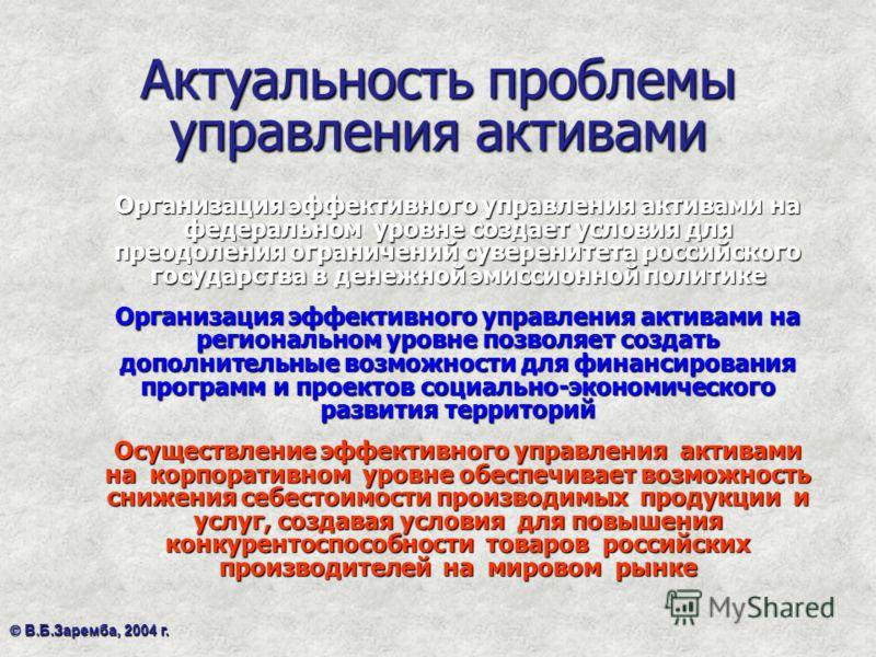 Актуальность проблемы управления активами Организация эффективного управления активами на федеральном уровне создает условия для преодоления ограничений суверенитета российского государства в денежной эмиссионной политике Организация эффективного упр