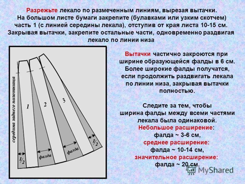 Разрежьте лекало по размеченным линиям, вырезая вытачки. На большом листе бумаги закрепите (булавками или узким скотчем) часть 1 (с линией середины лекала), отступив от края листа 10-15 см. Закрывая вытачки, закрепите остальные части, одновременно ра