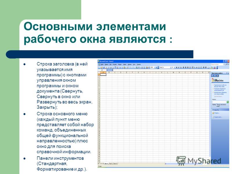 Основными элементами рабочего окна являются : Строка заголовка (в ней указывается имя программы) с кнопками управления окном программы и окном документа (Свернуть, Свернуть в окно или Развернуть во весь экран, Закрыть); Строка основного меню (каждый