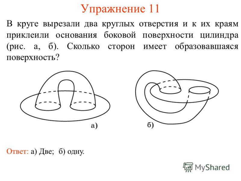 Упражнение 11 В круге вырезали два круглых отверстия и к их краям приклеили основания боковой поверхности цилиндра (рис. а, б). Сколько сторон имеет образовавшаяся поверхность? Ответ: а) Две;б) одну.