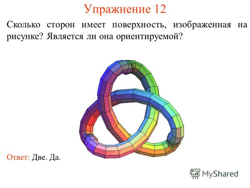 Упражнение 12 Сколько сторон имеет поверхность, изображенная на рисунке? Является ли она ориентируемой? Ответ: Две. Да.