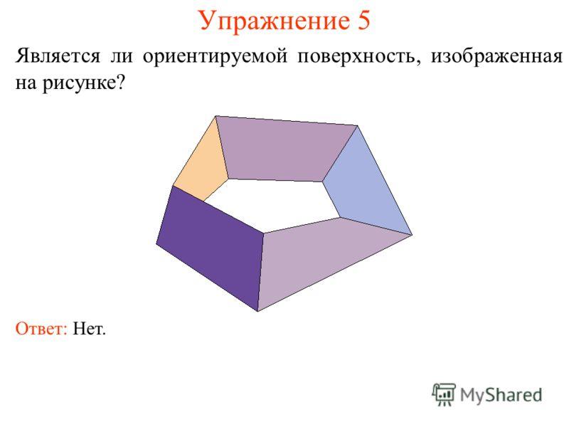 Упражнение 5 Является ли ориентируемой поверхность, изображенная на рисунке? Ответ: Нет.