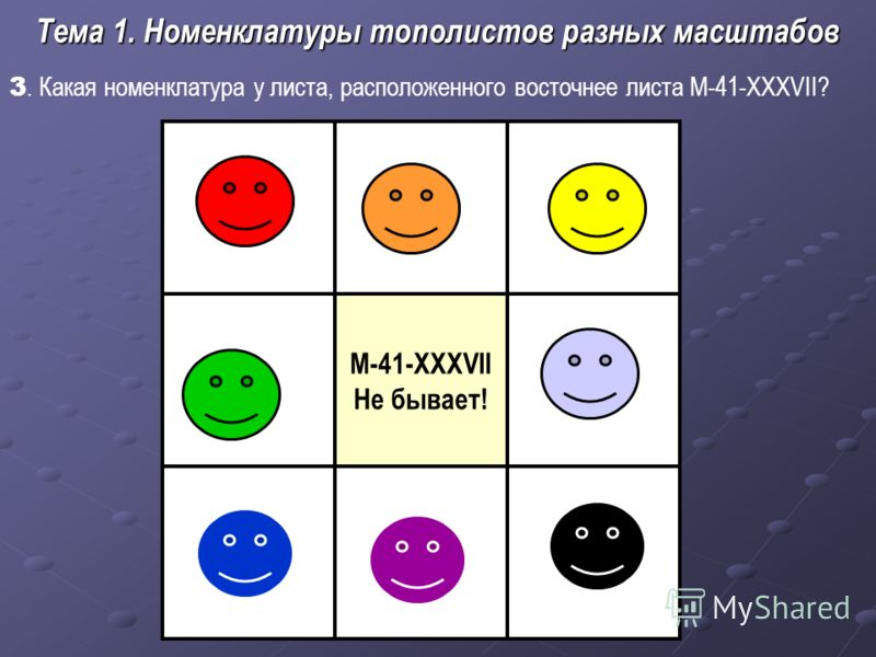 3. Какая номенклатура у листа, расположенного восточнее листа М-41-XXXVII? Тема 1. Номенклатуры тополистов разных масштабов M-41-XXXVII Не бывает!