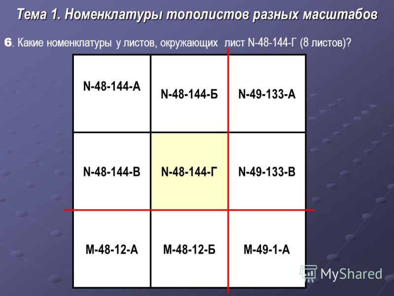 6. Какие номенклатуры у листов, окружающих лист N-48-144-Г (8 листов)? Тема 1. Номенклатуры тополистов разных масштабов N-48-144-Г М-48-12-Б N-49-133-А N-48-144-А N-49-133-В М-49-1-А N-48-144-В M-48-12-А N-48-144-Б