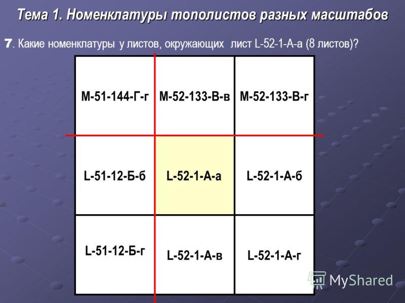 7. Какие номенклатуры у листов, окружающих лист L-52-1-А-а (8 листов)? Тема 1. Номенклатуры тополистов разных масштабов L-52-1-А-а L-52-1-А-в М-52-133-В-гМ-51-144-Г-г L-52-1-А-б L-52-1-А-г L-51-12-Б-б L-51-12-Б-г М-52-133-В-в