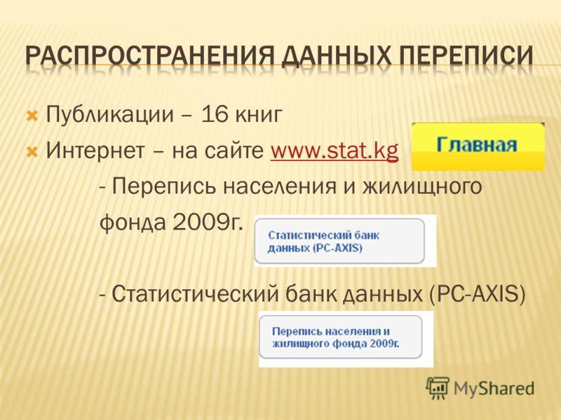 Публикации – 16 книг Интернет – на сайте www.stat.kgwww.stat.kg - Перепись населения и жилищного фонда 2009г. - Статистический банк данных (PC-AXIS)