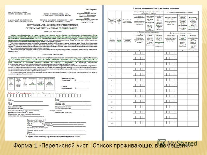 Форма 1 «Переписной лист - Список проживающих в помещении»