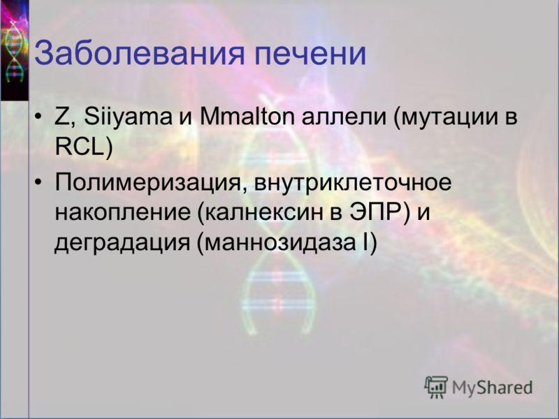 Заболевания печени Z, Siiyama и Mmalton аллели (мутации в RCL) Полимеризация, внутриклеточное накопление (калнексин в ЭПР) и деградация (маннозидаза I)