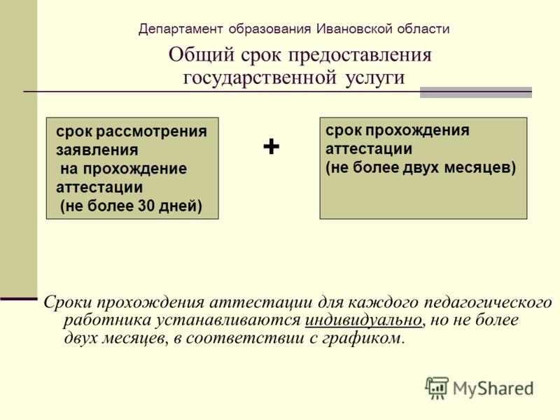 Департамент образования Ивановской области Общий срок предоставления государственной услуги Сроки прохождения аттестации для каждого педагогического работника устанавливаются индивидуально, но не более двух месяцев, в соответствии с графиком. срок ра