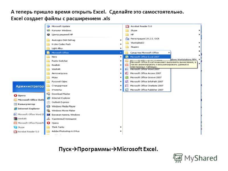 А теперь пришло время открыть Excel. Сделайте это самостоятельно. Excel создает файлы с расширением.xls ПускПрограммыMicrosoft Excel.
