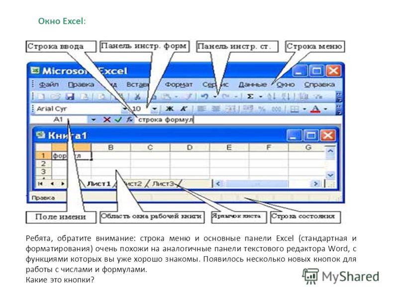 Окно Excel: Рис.3 Ребята, обратите внимание: строка меню и основные панели Excel (стандартная и форматирования) очень похожи на аналогичные панели текстового редактора Word, с функциями которых вы уже хорошо знакомы. Появилось несколько новых кнопок