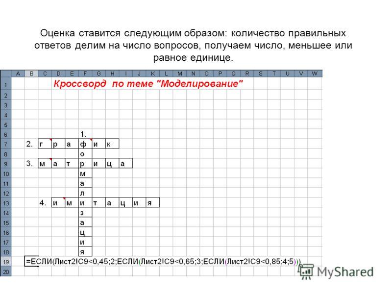 Оценка ставится следующим образом: количество правильных ответов делим на число вопросов, получаем число, меньшее или равное единице.
