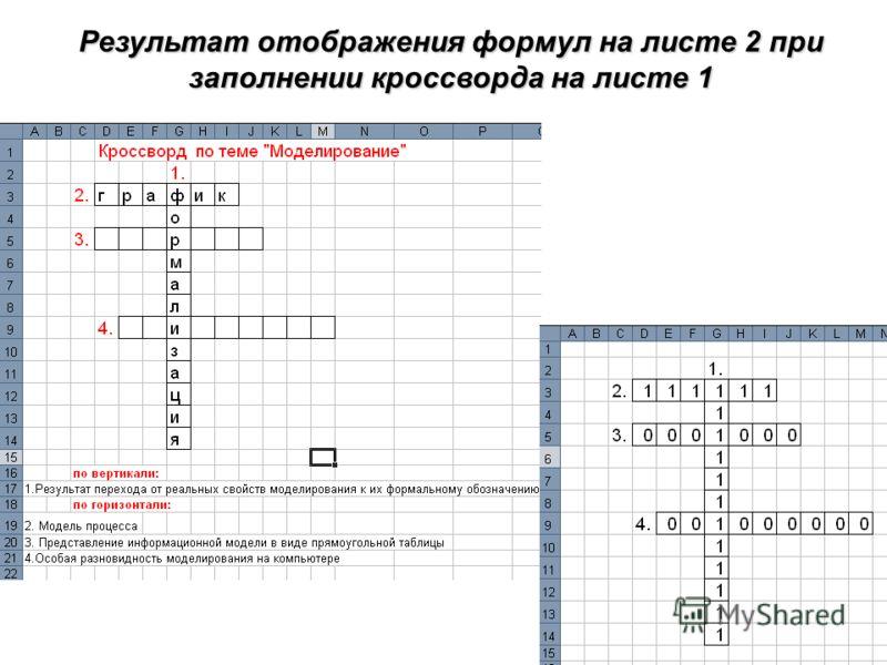 Результат отображения формул на листе 2 при заполнении кроссворда на листе 1