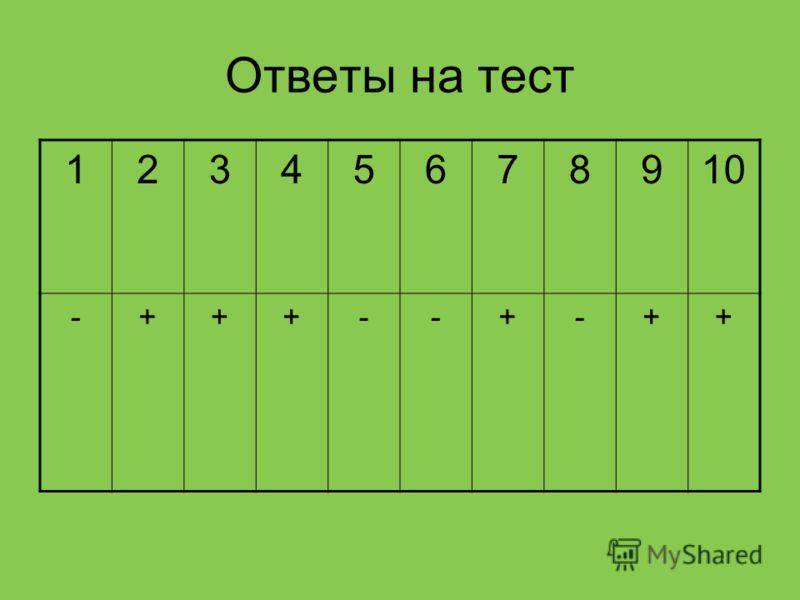 Ответы на тест 12345678910 -+++--+-++