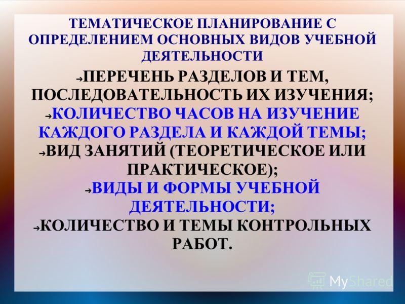 ТЕМАТИЧЕСКОЕ ПЛАНИРОВАНИЕ С ОПРЕДЕЛЕНИЕМ ОСНОВНЫХ ВИДОВ УЧЕБНОЙ ДЕЯТЕЛЬНОСТИ ПЕРЕЧЕНЬ РАЗДЕЛОВ И ТЕМ, ПОСЛЕДОВАТЕЛЬНОСТЬ ИХ ИЗУЧЕНИЯ; КОЛИЧЕСТВО ЧАСОВ НА ИЗУЧЕНИЕ КАЖДОГО РАЗДЕЛА И КАЖДОЙ ТЕМЫ; ВИД ЗАНЯТИЙ (ТЕОРЕТИЧЕСКОЕ ИЛИ ПРАКТИЧЕСКОЕ); ВИДЫ И ФОР