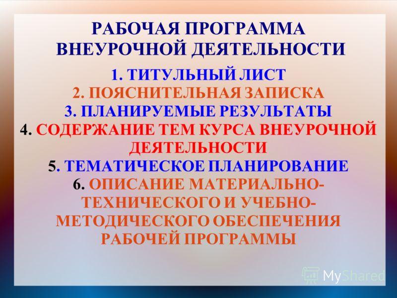 РАБОЧАЯ ПРОГРАММА ВНЕУРОЧНОЙ ДЕЯТЕЛЬНОСТИ 1. ТИТУЛЬНЫЙ ЛИСТ 2. ПОЯСНИТЕЛЬНАЯ ЗАПИСКА 3. ПЛАНИРУЕМЫЕ РЕЗУЛЬТАТЫ 4. СОДЕРЖАНИЕ ТЕМ КУРСА ВНЕУРОЧНОЙ ДЕЯТЕЛЬНОСТИ 5. ТЕМАТИЧЕСКОЕ ПЛАНИРОВАНИЕ 6. ОПИСАНИЕ МАТЕРИАЛЬНО- ТЕХНИЧЕСКОГО И УЧЕБНО- МЕТОДИЧЕСКОГО