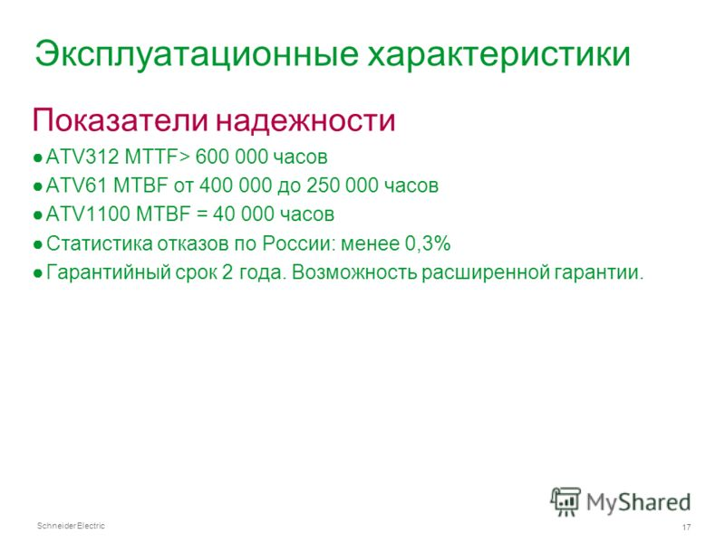 Schneider Electric 17 Эксплуатационные характеристики Показатели надежности ATV312 MTTF> 600 000 часов ATV61 MTBF от 400 000 до 250 000 часов ATV1100 MTBF = 40 000 часов Статистика отказов по России: менее 0,3% Гарантийный срок 2 года. Возможность ра