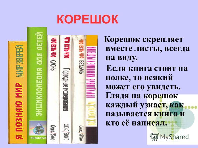 Корешок скрепляет вместе листы, всегда на виду. Если книга стоит на полке, то всякий может его увидеть. Глядя на корешок каждый узнает, как называется книга и кто её написал. КОРЕШОК