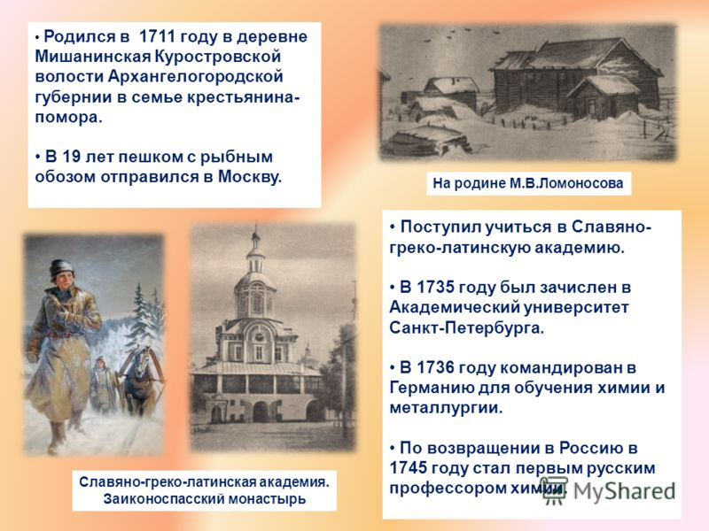Родился в 1711 году в деревне Мишанинская Куростровской волости Архангелогородской губернии в семье крестьянина- помора. В 19 лет пешком с рыбным обозом отправился в Москву. Поступил учиться в Славяно- греко-латинскую академию. В 1735 году был зачисл