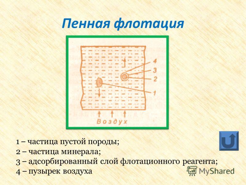 1 – частица пустой породы; 2 – частица минерала; 3 – адсорбированный слой флотационного реагента; 4 – пузырек воздуха Пенная флотация