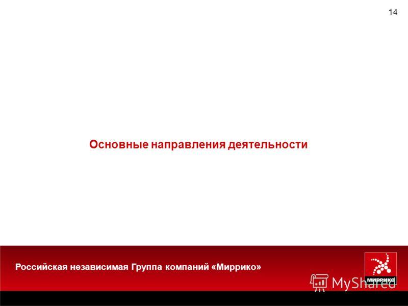 14 Основные направления деятельности Российская независимая Группа компаний «Миррико»