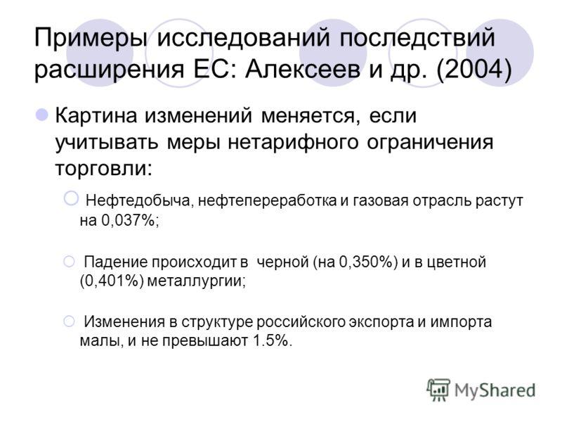 Примеры исследований последствий расширения ЕС: Алексеев и др. (2004) Картина изменений меняется, если учитывать меры нетарифного ограничения торговли: Нефтедобыча, нефтепереработка и газовая отрасль растут на 0,037%; Падение происходит в черной (на