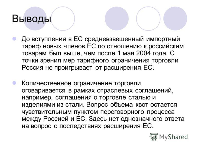Выводы До вступления в ЕС средневзвешенный импортный тариф новых членов ЕС по отношению к российским товарам был выше, чем после 1 мая 2004 года. С точки зрения мер тарифного ограничения торговли Россия не проигрывает от расширения ЕС. Количественное