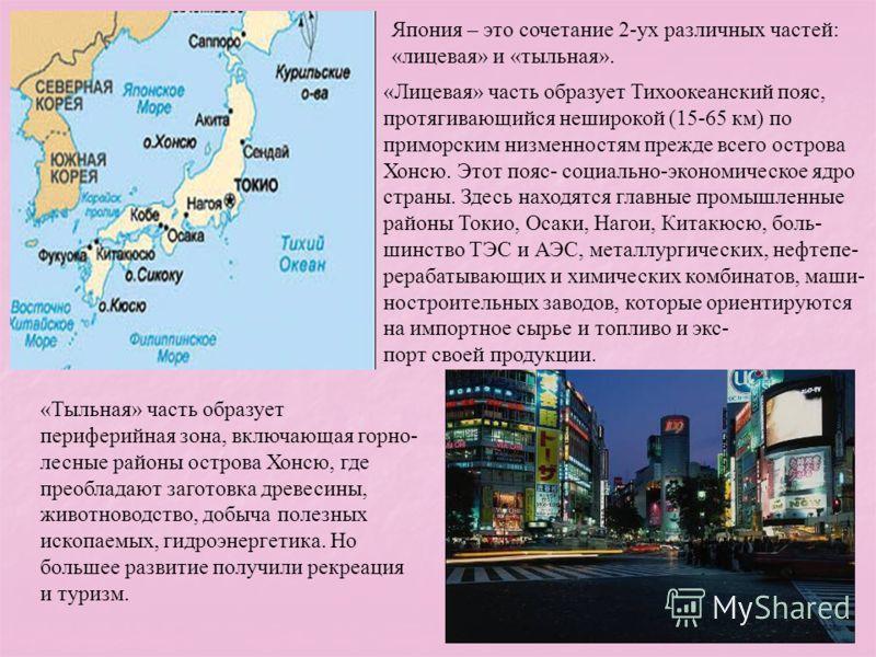Япония – это сочетание 2-ух различных частей: «лицевая» и «тыльная». «Лицевая» часть образует Тихоокеанский пояс, протягивающийся неширокой (15-65 км) по приморским низменностям прежде всего острова Хонсю. Этот пояс- социально-экономическое ядро стра