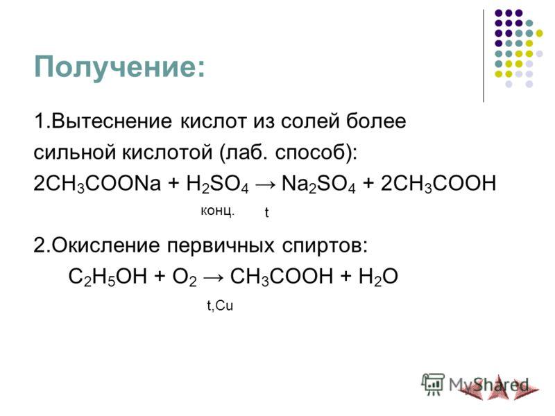 Получение: 1.Вытеснение кислот из солей более сильной кислотой (лаб. способ): 2CH 3 COONa + H 2 SO 4 Na 2 SO 4 + 2CH 3 COOH конц. t 2.Окисление первичных спиртов: C 2 H 5 OH + O 2 CH 3 COOH + H 2 O t,Cu
