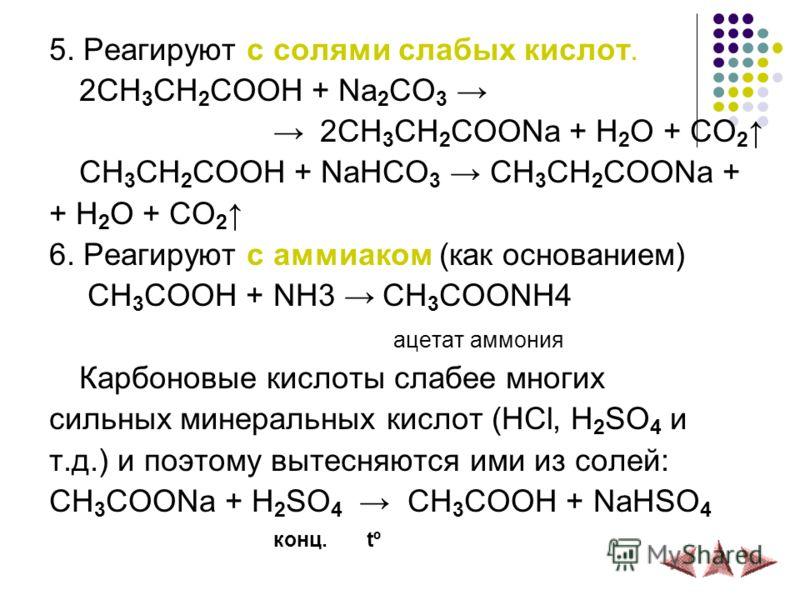 5. Реагируют с солями слабых кислот. 2СH 3 CH 2 COOH + Na 2 CO 3 2CH 3 CH 2 COONa + H 2 O + CO 2 СH 3 CH 2 COOH + NaHCO 3 CH 3 CH 2 COONa + + H 2 O + CO 2 6. Реагируют с аммиаком (как основанием) СH 3 COOH + NH3 СH 3 COONH4 ацетат аммония Карбоновые