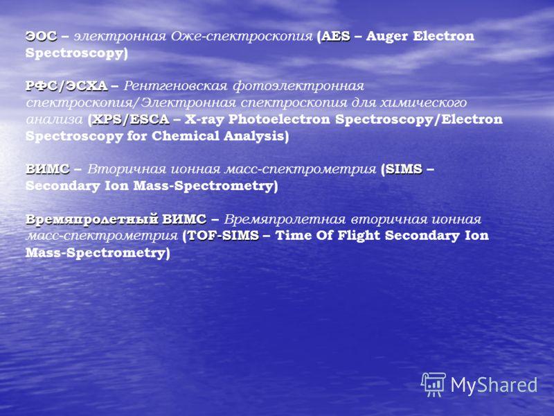 ЭОСAES ЭОС – электронная Оже-спектроскопия (AES – Auger Electron Spectroscopy) РФС/ЭСХА XPS/ESCA РФС/ЭСХА – Рентгеновская фотоэлектронная спектроскопия/Электронная спектроскопия для химического анализа (XPS/ESCA – X-ray Photoelectron Spectroscopy/Ele