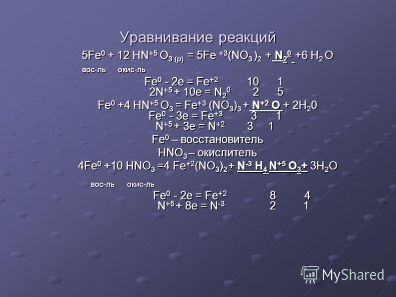 Уравнивание реакций 5Fe0 + 12 HN+5 O3 (p) = = = = 5Fe +3(NO3 )2 + N20 +6 H2 O вос-ль окис-ль Fe0 - 2e = Fe+2 10 1 2N+5 + 10e = N20 2 5 Fe0 +4 HN+5 O3 = Fe+3 (NO3)3 + N+2 O + 2H20 Fe0 - 3e = Fe+3 3 1 N+5 + 3e = N+2 3 1 Fe0 – восстановитель HNO3 – окис