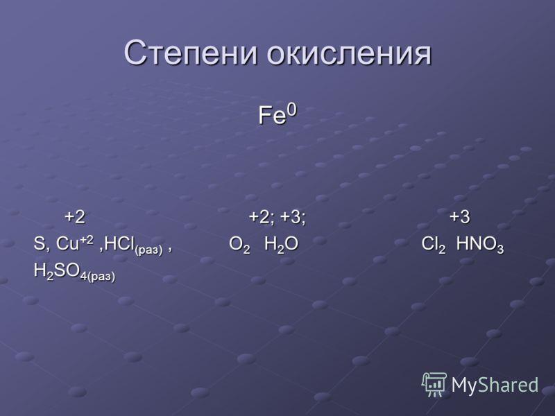 Степени окисления Fe 0 +2 +2; +3; +3 +2 +2; +3; +3 S, Cu +2,HCl (раз), O 2 H 2 O Cl 2 HNO 3 H 2 SO 4(раз)