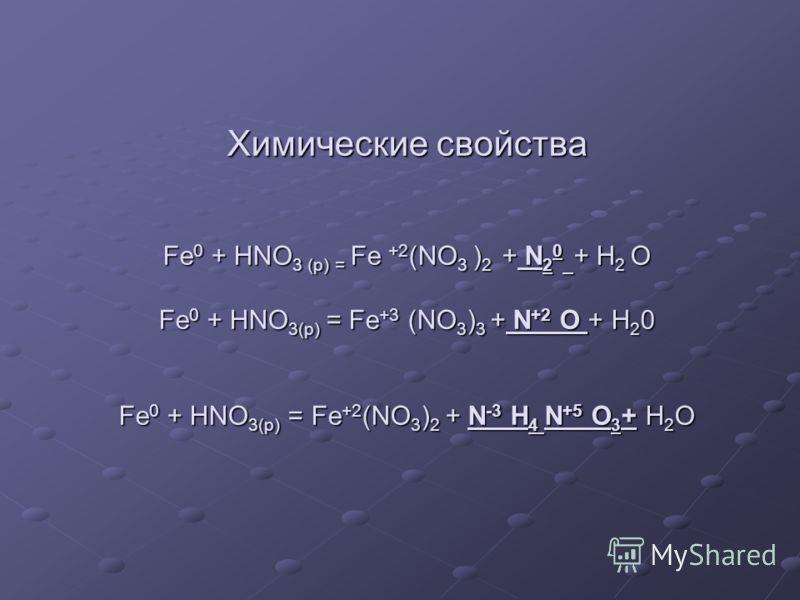 Химические свойства Fe 0 + HNO 3 (p) = Fe +2 (NO 3 ) 2 + N 2 0 + H 2 O Fe 0 + HNO 3(р) = Fe +3 (NO 3 ) 3 + N +2 O + H 2 0 Fe 0 + HNO 3(р) = Fe +2 (NO 3 ) 2 + N -3 H 4 N +5 O 3 + H 2 O