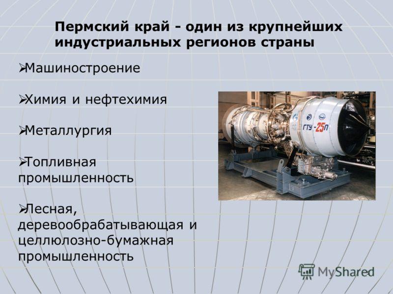 5 Пермский край - один из крупнейших индустриальных регионов страны Машиностроение Химия и нефтехимия Металлургия Топливная промышленность Лесная, деревообрабатывающая и целлюлозно-бумажная промышленность