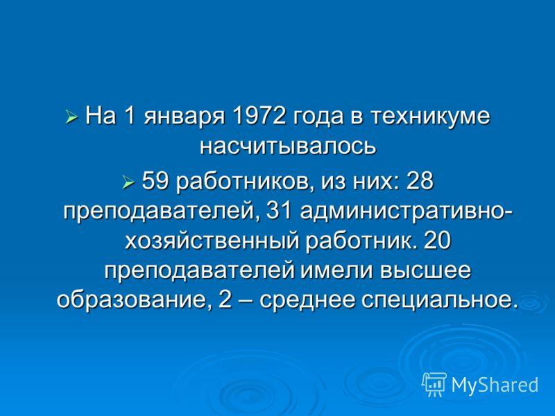 На 1 января 1972 года в техникуме насчитывалось На 1 января 1972 года в техникуме насчитывалось 59 работников, из них: 28 преподавателей, 31 административно- хозяйственный работник. 20 преподавателей имели высшее образование, 2 – среднее специальное.